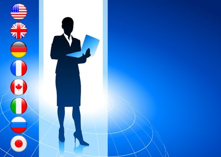 Businesswoman with Internet Flag Buttons Background Original Vector Illustration Reklamní fotografie