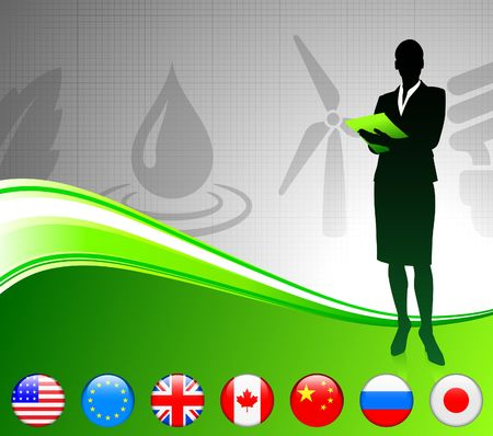 Businesswoman with Internet Flag Buttons Original Vector Illustration