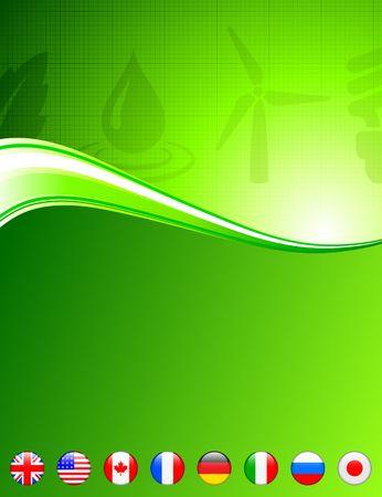 Green Nature Background with Internet Flag Buttons Original Vector Illustration Reklamní fotografie