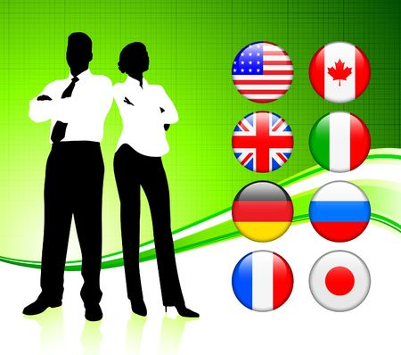 Business Couple on  internet flag buttons backgroundOriginal Vector Illustration Stock Illustration - 6441552