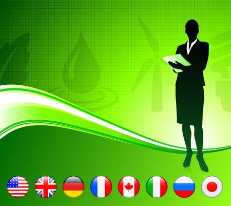 Businesswoman with Internet Flag Buttons Background Original Vector Illustration illustration