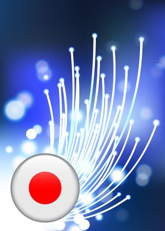 Japan Internet Button on Fiber Optic Background Original Vector Illustration