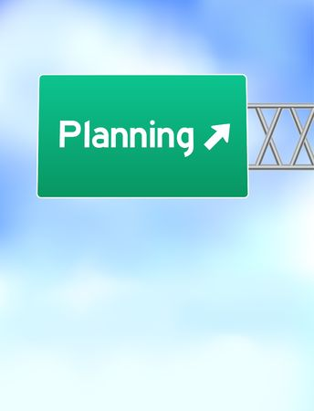 planning: Planning Highway Sign Original Vector Illustration