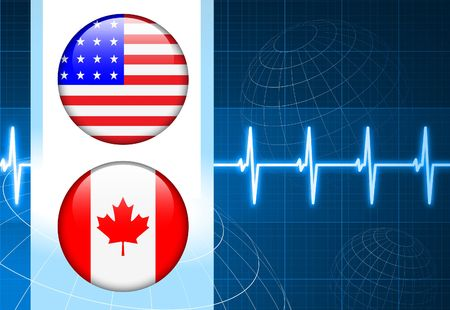 United States and canada Flag Internet Buttons on pulse Background Original Vector Illustration illustration