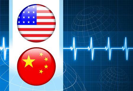 United States and china Flag Internet Buttons on pulse Background Original Vector Illustration illustration