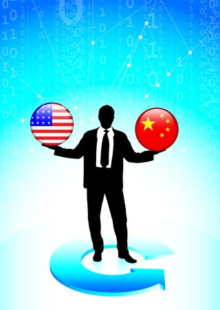 Businessman Holding United States and china  Internet Flag Buttons Original Vector Illustration illustration