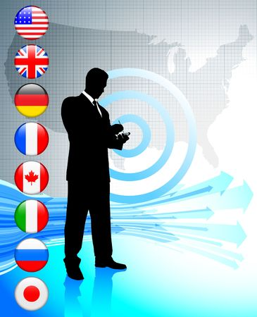 Businessman with USA map and internet flag buttons Original Vector Illustration illustration
