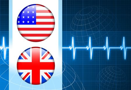 United States and British Flag Internet Buttons on pulse Background