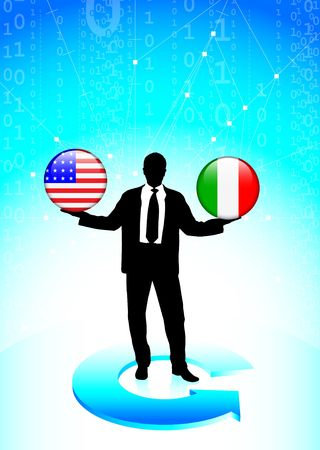 Businessman Holding United States and Italy Internet Flag Buttons Original Vector Illustration illustration