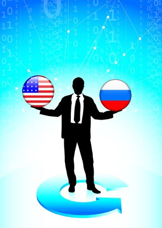 Businessman Holding United States and russia Internet Flag Buttons Original Vector Illustration illustration