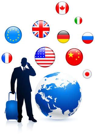 Businessman traveler with Globe and internet flag buttons Original Vector Illustration