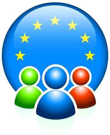 User Icons with European Union Flag Internet Button Original Vector Illustration illustration