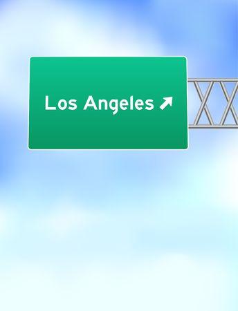 Los Angeles Highway Sign Original Vector Illustration illustration