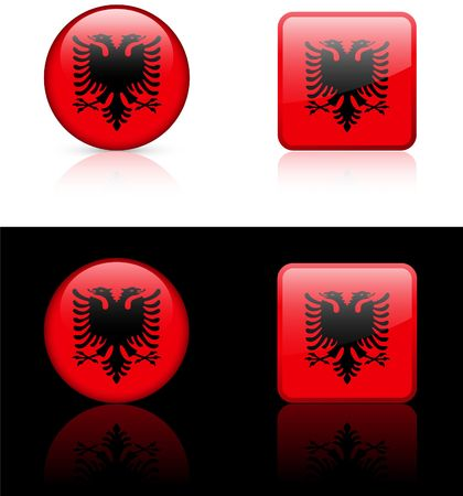 Albania Flag Buttons on White and Black Background   photo
