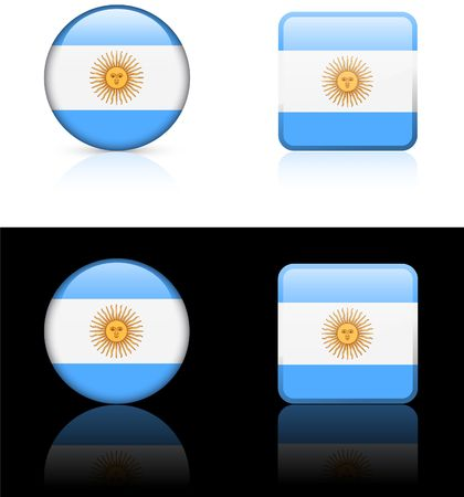 Argentina Flag Buttons on White and Black Background