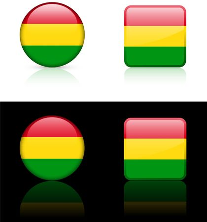 Bolivia Flag Buttons on White and Black Background