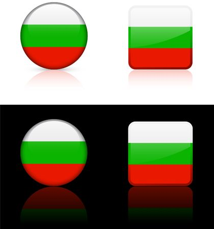 shiny buttons: Bulgaria Flag Buttons on White and Black Background   Stock Photo