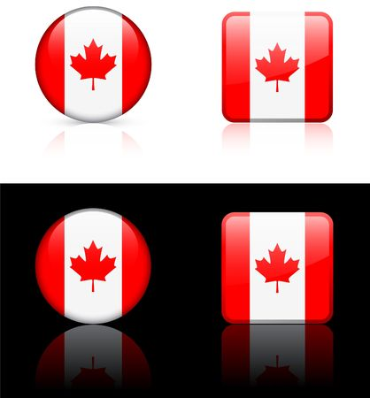 Canada Flag Buttons on White and Black Background   photo