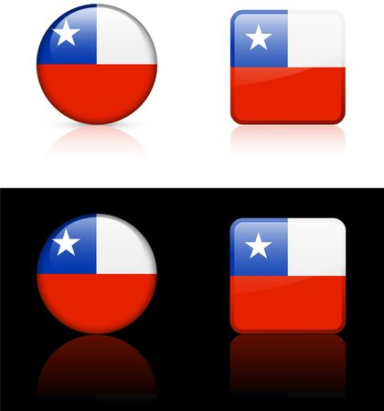 Chile Flag Buttons on White and Black Background