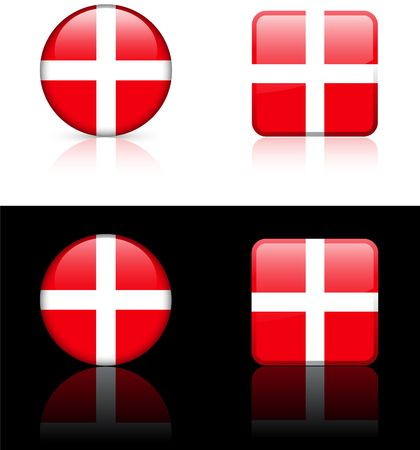 Denmark Flag Buttons on White and Black Background   photo