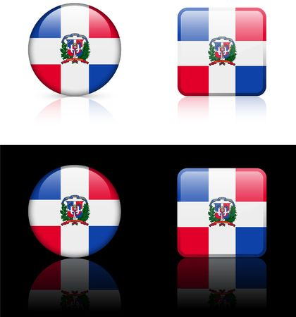 dominican republic Flag Buttons on White and Black Background   photo