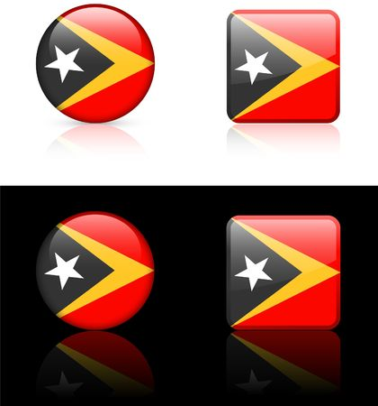 timor: east timor Flag Buttons on White and Black Background