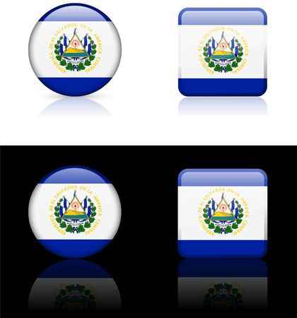El Salvador Flag Buttons on White and Black Background  photo