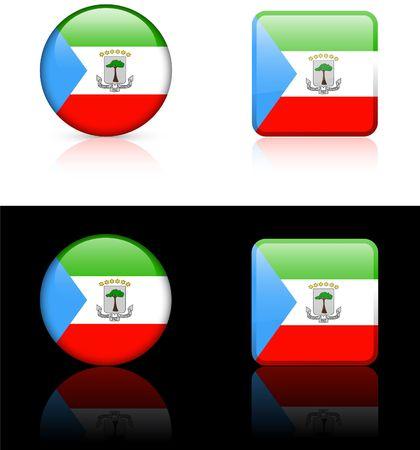 equatorial: equatorial guinea Flag Buttons on White and Black Background