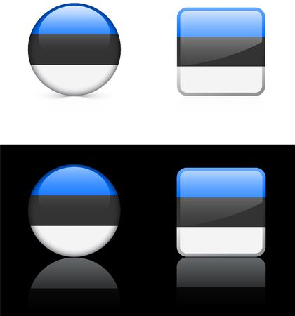 reflection: estonia Flag Buttons on White and Black Background