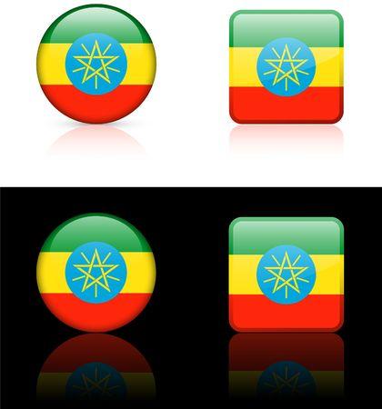 ethiopia flag: ethiopia Flag Buttons on White and Black Background
