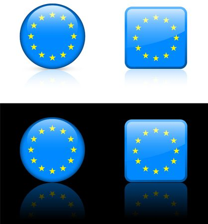 european union Flag Buttons on White and Black Background   photo