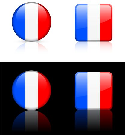 France Flag Buttons on White and Black Background