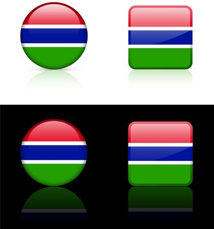 Gambia Flag Buttons on White and Black Background  photo