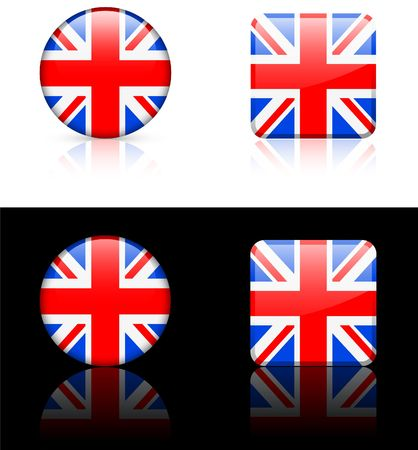 shiny buttons: British Flag Buttons on White and Black Background   Stock Photo