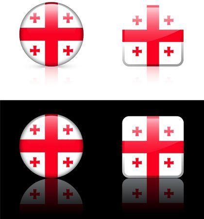 Georgia Flag Buttons on White and Black Background   Zdjęcie Seryjne