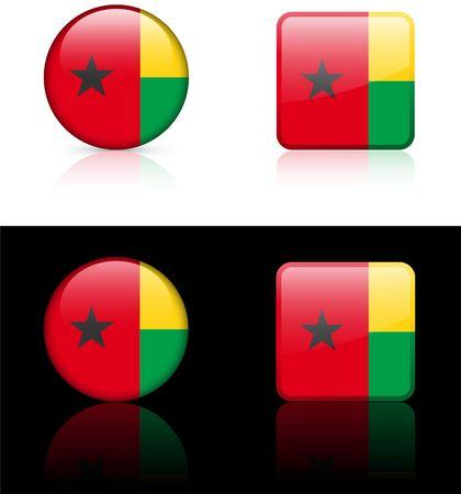 bissau: Guniea Bissau Flag Buttons on White and Black Background   Stock Photo