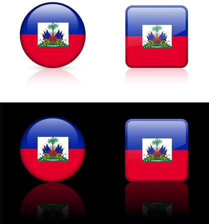 haiti: Haiti Flag Buttons on White and Black Background