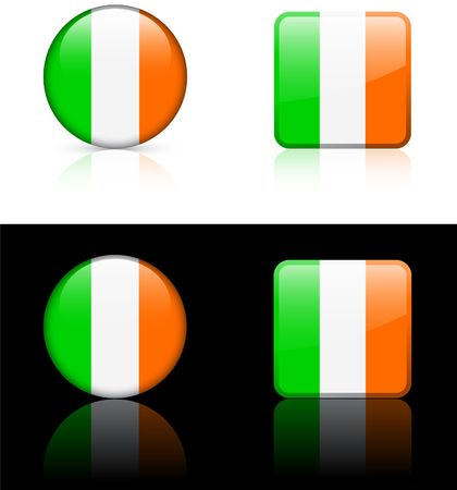 ireland flag: Ireland Flag Buttons on White and Black Background   Stock Photo