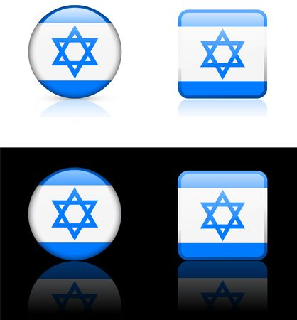 Israel Flag Buttons on White and Black Background  photo