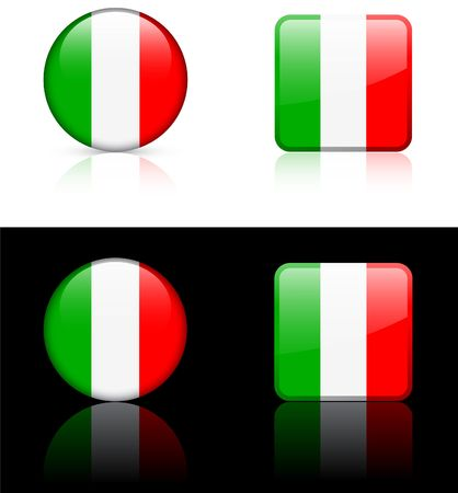 Italy Flag Buttons on White and Black Background