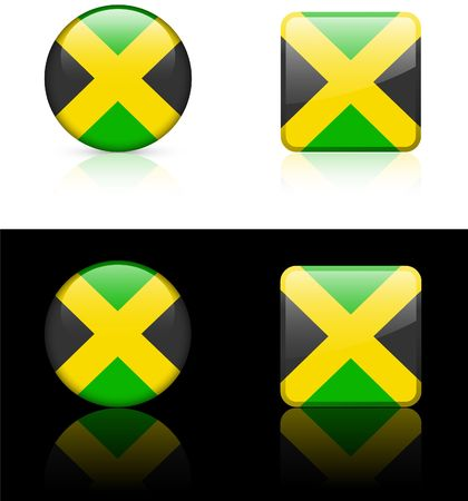 Jamaica Flag Buttons on White and Black Background   photo
