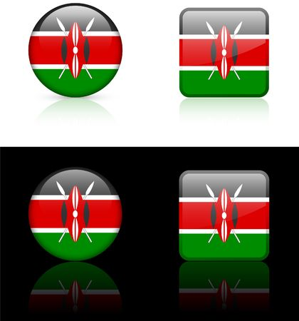 kenya: Kenya Flag Buttons on White and Black Background   Stock Photo