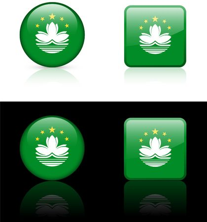 macau: Macau Flag Buttons on White and Black Background