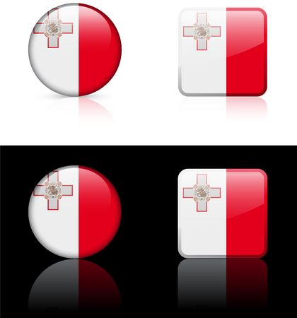 Malta Flag Buttons on White and Black Background