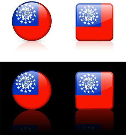 mayammar Flag Buttons on White and Black Background   photo