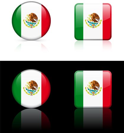 shiny buttons: Mexico Flag Buttons on White and Black Background