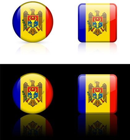 moldova Flag Buttons on White and Black Background