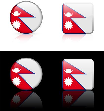 nepal Flag Buttons on White and Black Background  Фото со стока
