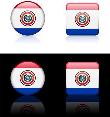 bandera de paraguay: Botones de bandera de Paraguay en blanco y negro de fondo  Foto de archivo