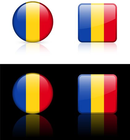 Romania Flag Buttons on White and Black Background   Imagens